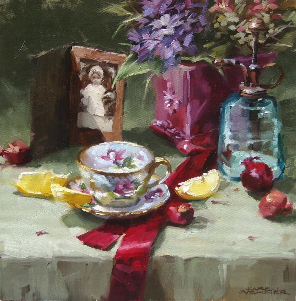 """Still Life With Crimson Ribbon"" original fine art by Karen Werner"