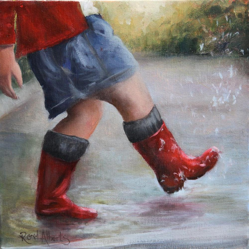 """A walk in the rain"" original fine art by Ronel Alberts"
