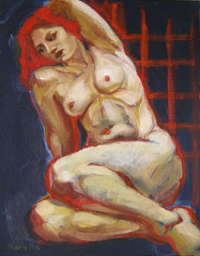 """Nude Figurative Painting of Woman, contemporary realism, Figure Study by M Fox, figuration"" original fine art by Marie Fox"