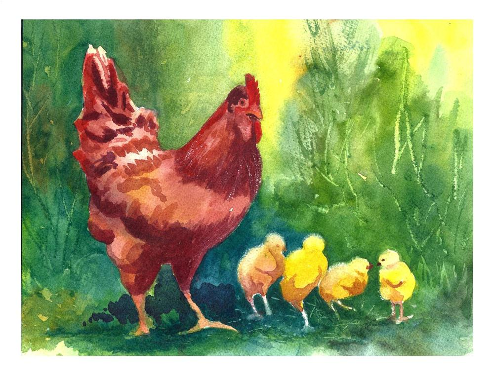 """Mom and Her Chicks Watercolor 10x7 $40"" original fine art by Suzanne Woodward"