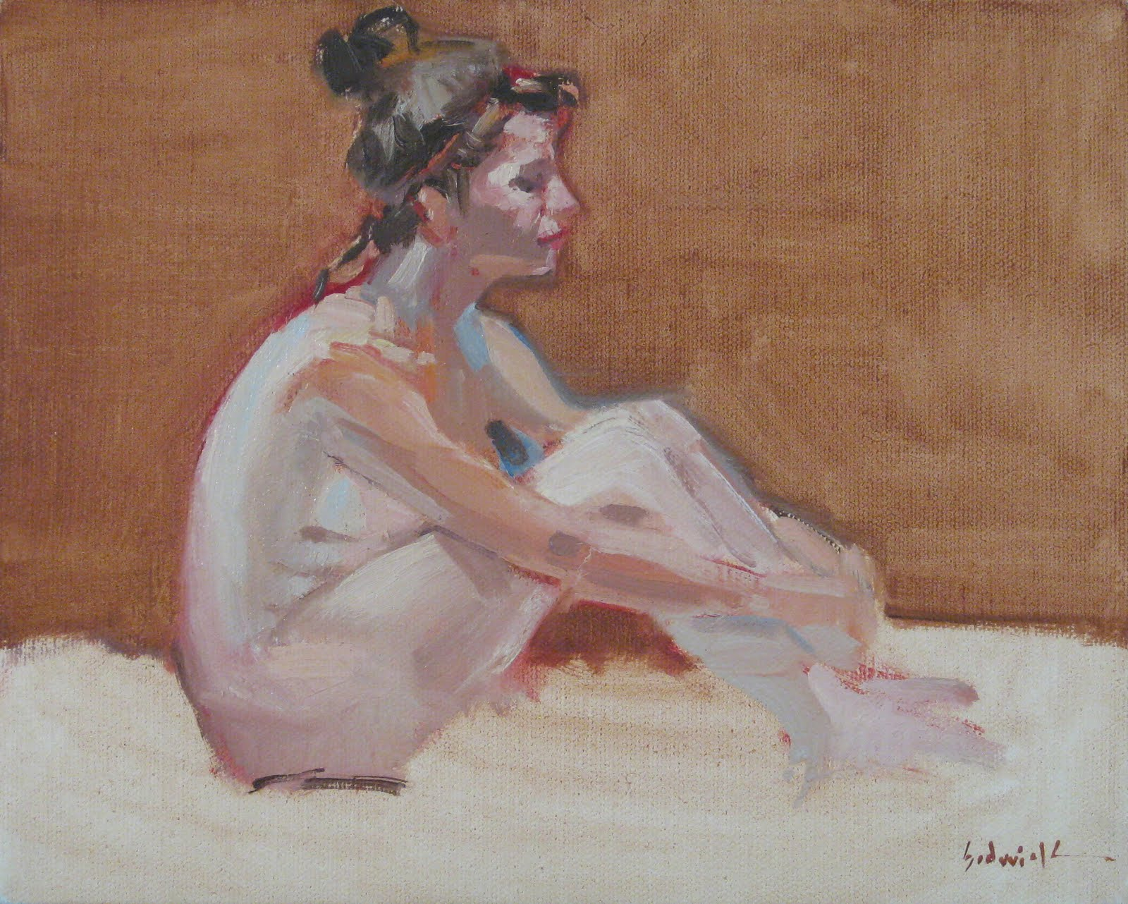 """Seated Nude, From the Side"" original fine art by Sarah Sedwick"