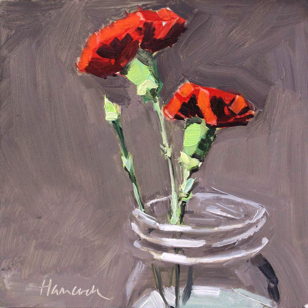 """Two Red Carnations"" original fine art by Gretchen Hancock"