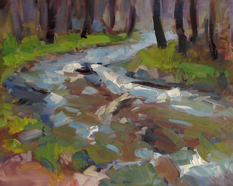"""Mosaic Stream in The Charcoal Forest"" original fine art by Patti McNutt"