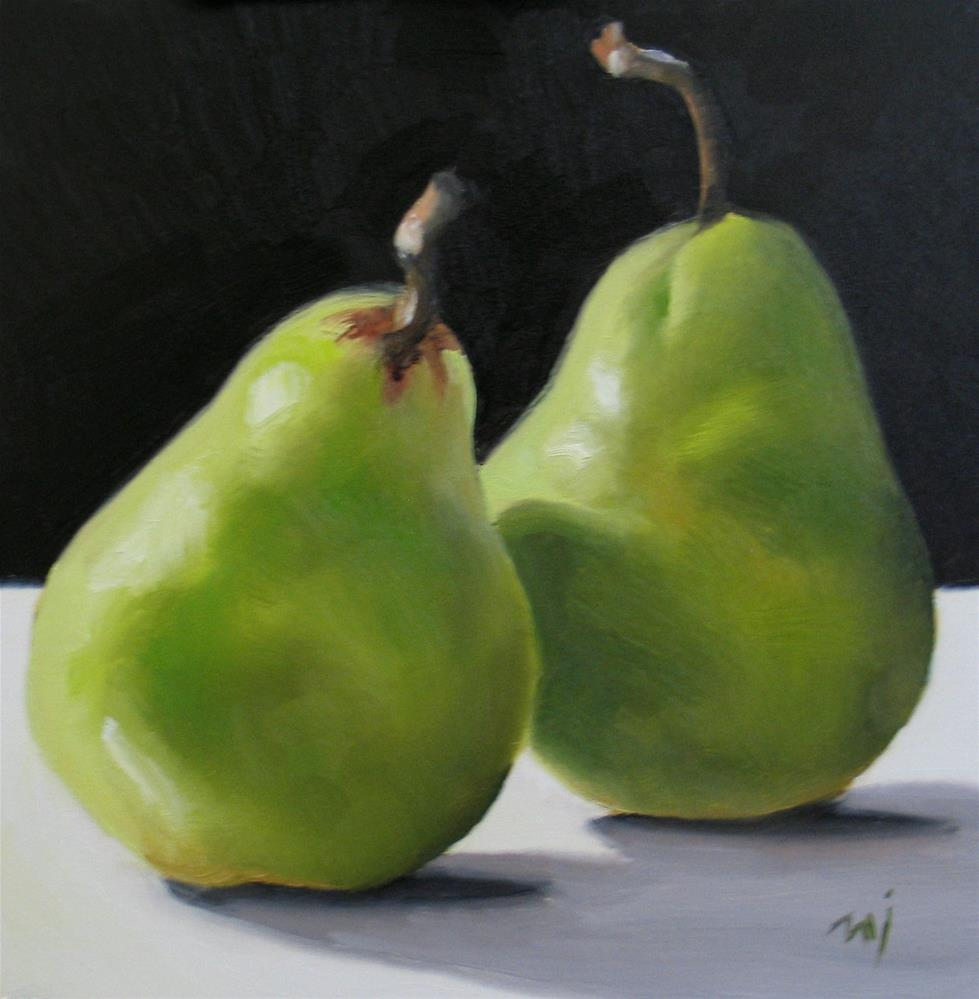 """Pears with Drama"" original fine art by Nel Jansen"