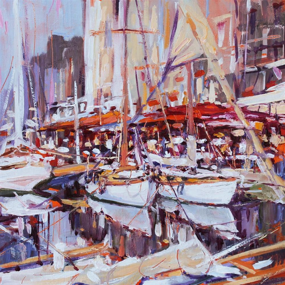 """Honfleur  Harbour"" original fine art by Ken Devine"
