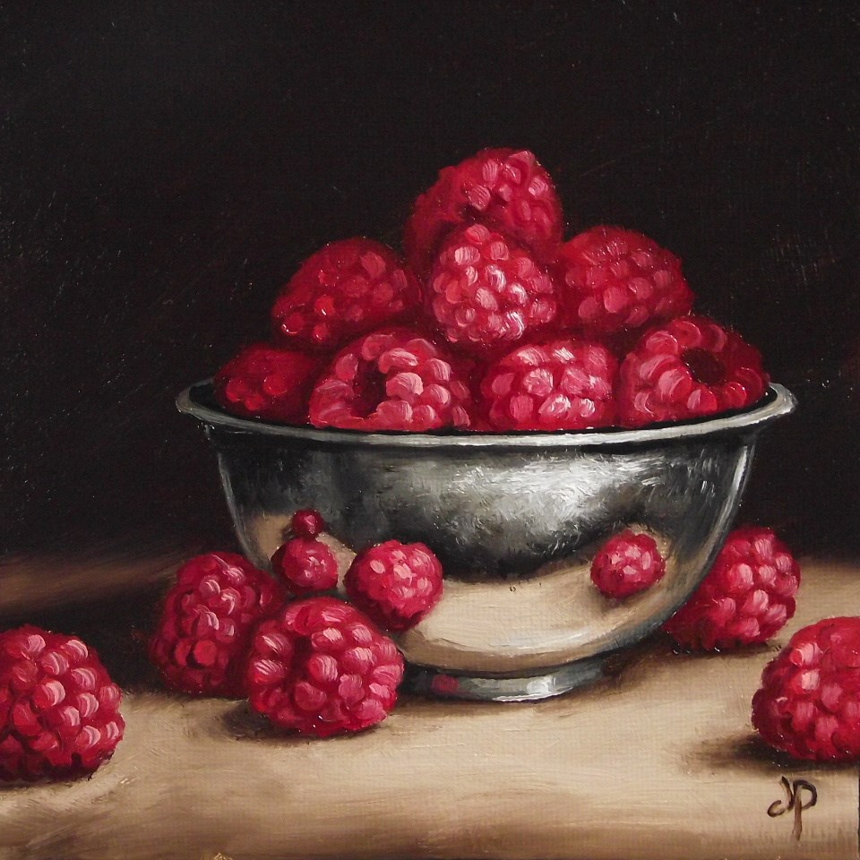 """Raspberries in Silver bowl"" original fine art by Jane Palmer"