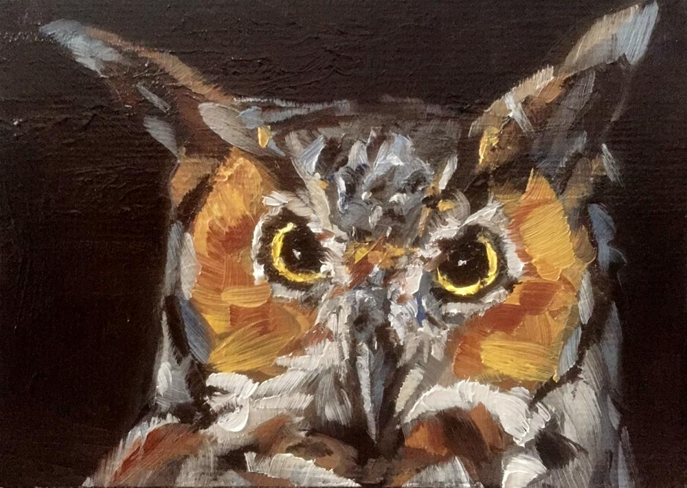 """Great Horned Owl"" original fine art by Gary Bruton"
