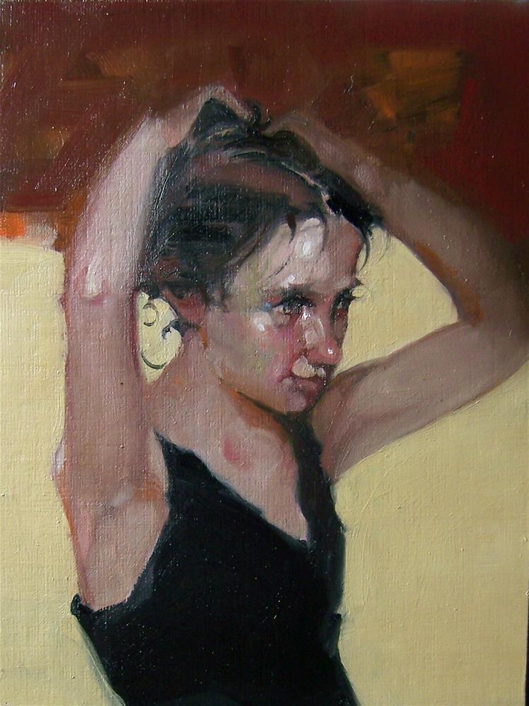 """Puts her hair up"" original fine art by Kim Roberti"