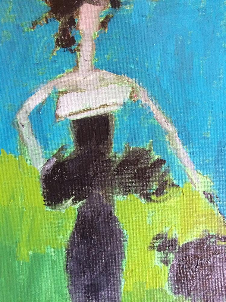 """&quote;Little black dress..big black dog&quote;"" original fine art by pamela kish"