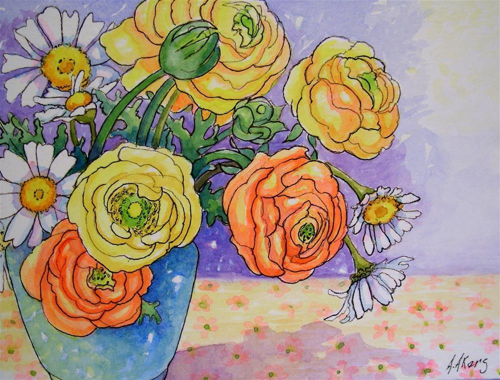 """Ranunculus and Daisies Storybook Cottage Flower Series"" original fine art by Alida Akers"