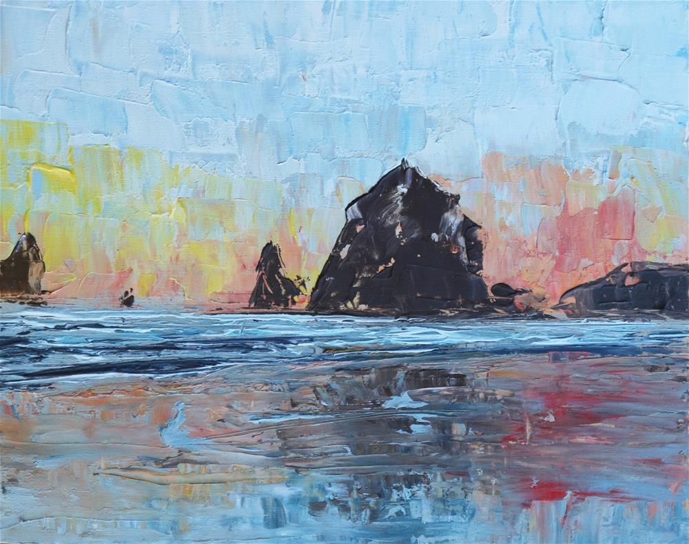 """Haystack Rock, Oregon Coast"" original fine art by Angela Kelly"