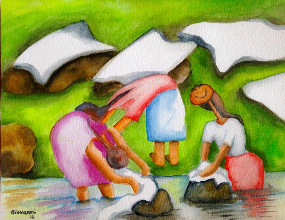 """Lavanderas 2 (Women Washing Clothes)"" original fine art by Giovanni Antunez"