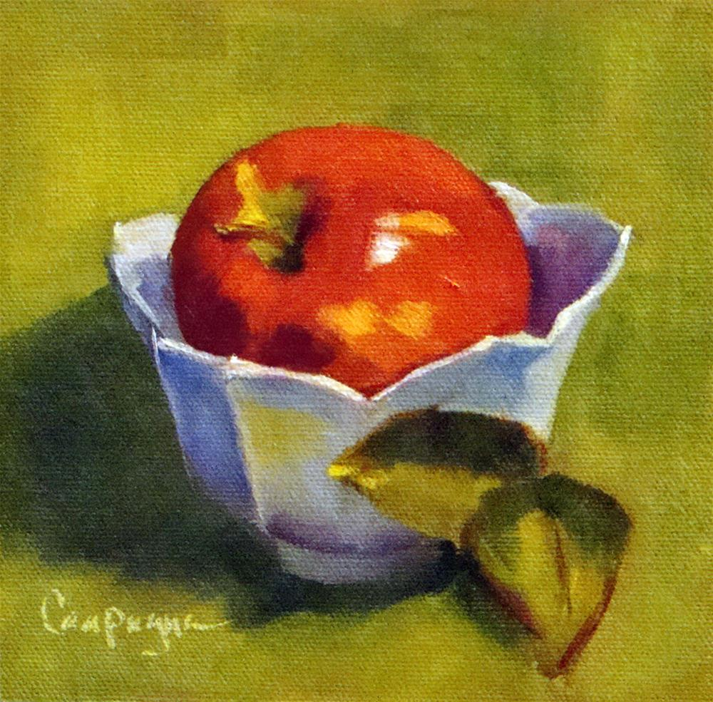 """Baked Apple in White Bowl"" original fine art by Roseanne Campagna"