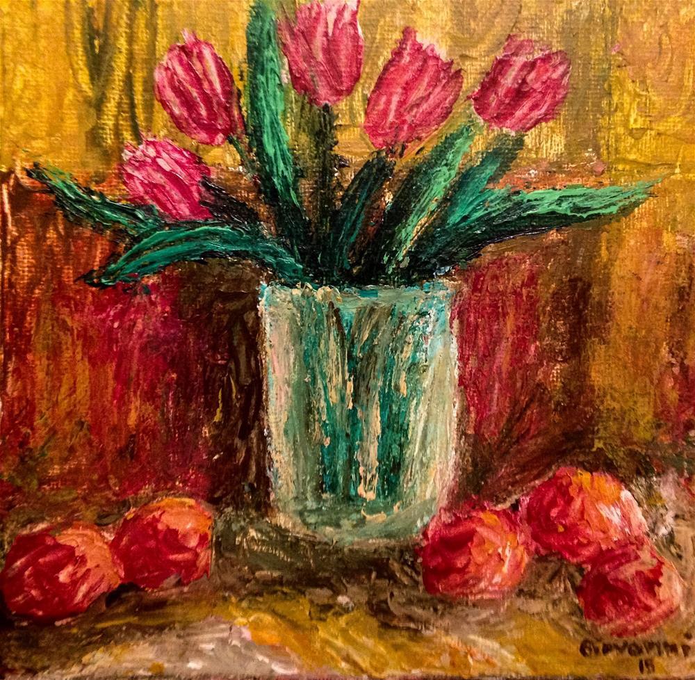 """Tulips and Peaches"" original fine art by Giovanni Antunez"