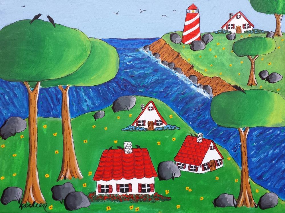 """Bolder Village"" original fine art by Karleen Kareem"