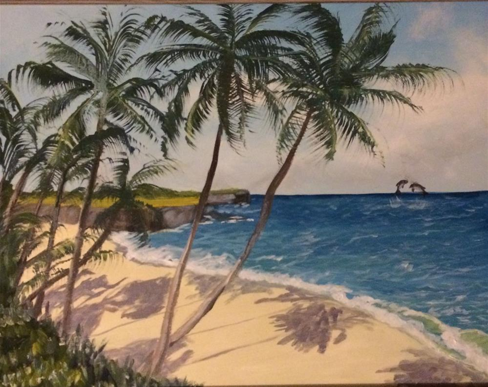 """Tropical Beach"" original fine art by Kim Clay"