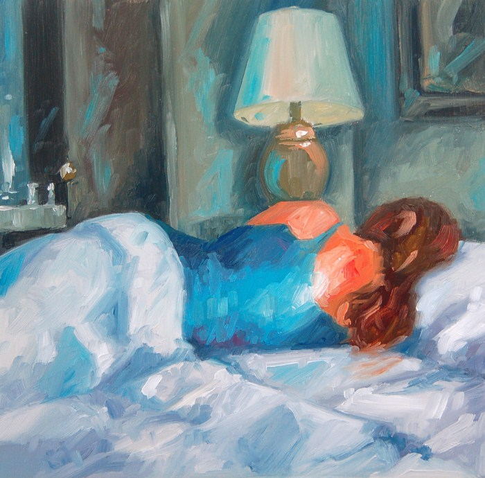 """No 457 Sleeping In"" original fine art by Robin J Mitchell"