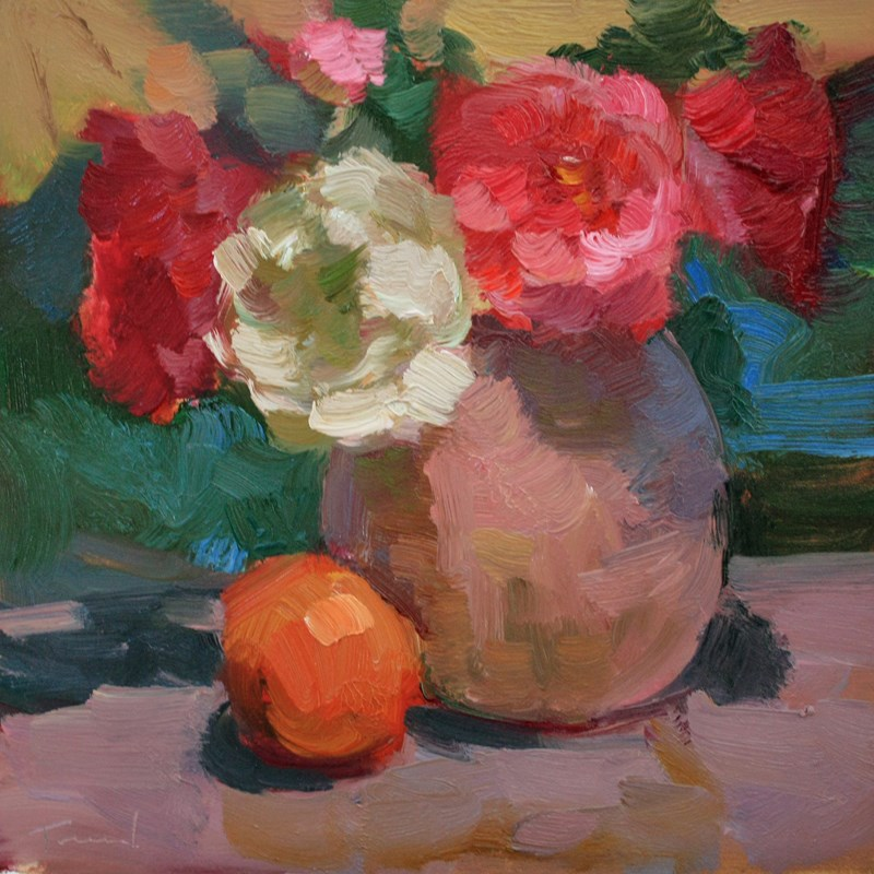 """Roses with Orange"" original fine art by Kathryn Townsend"