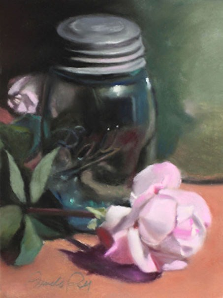 """Mason Jar and Rose"" original fine art by Pamela Poll"