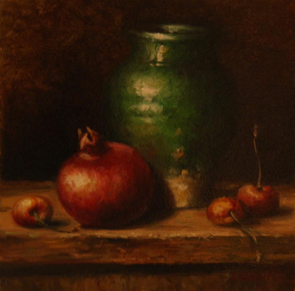 """Green Vase with Pomegranate"" original fine art by Carolina Elizabeth"