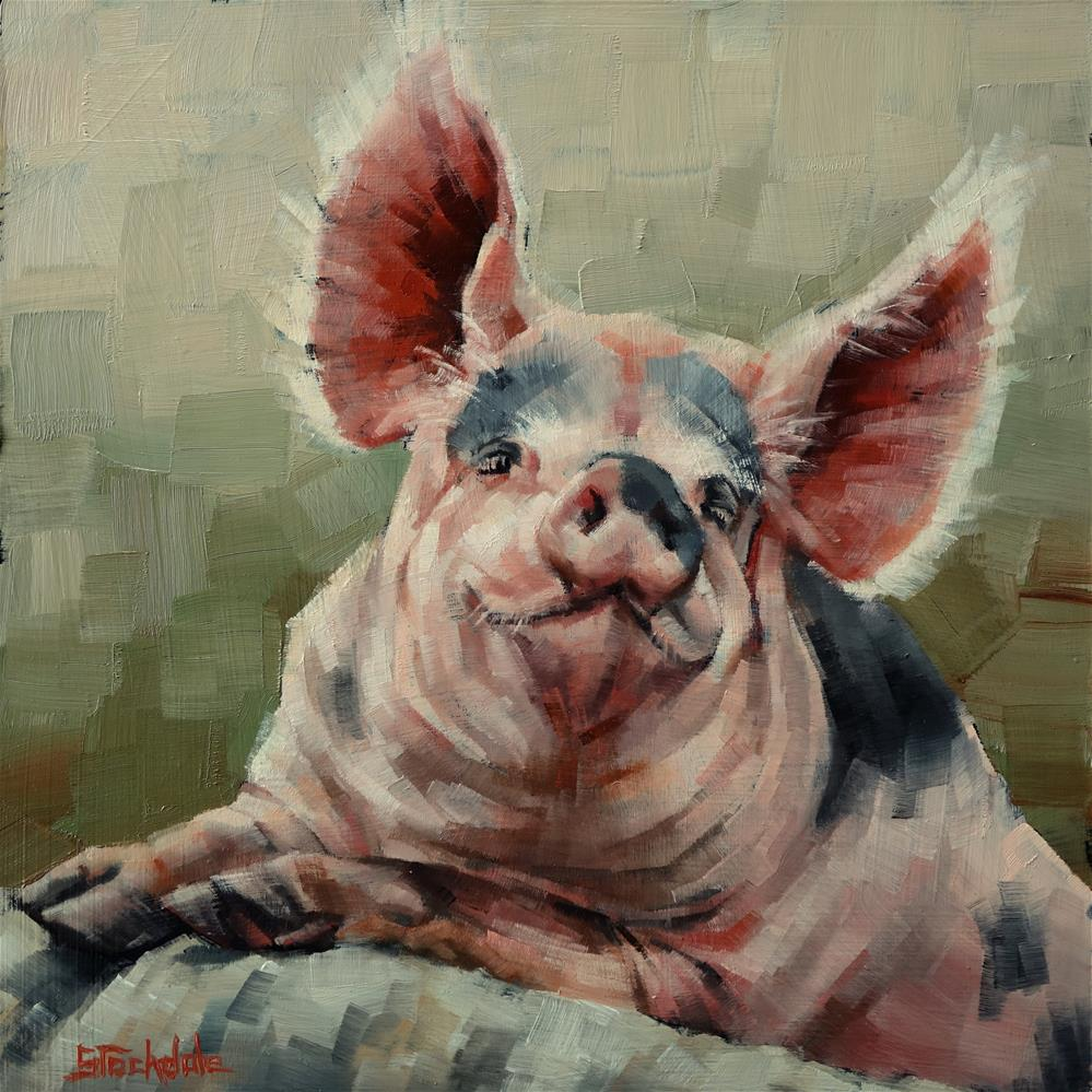 """Personality Pig"" original fine art by Margaret Stockdale"