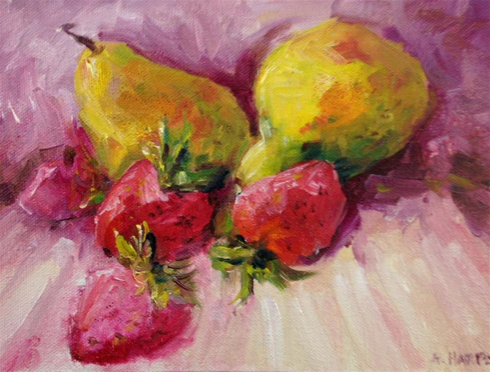 """""""Pears and strawberries food art still life kitchen painting"""" original fine art by Alice Harpel"""