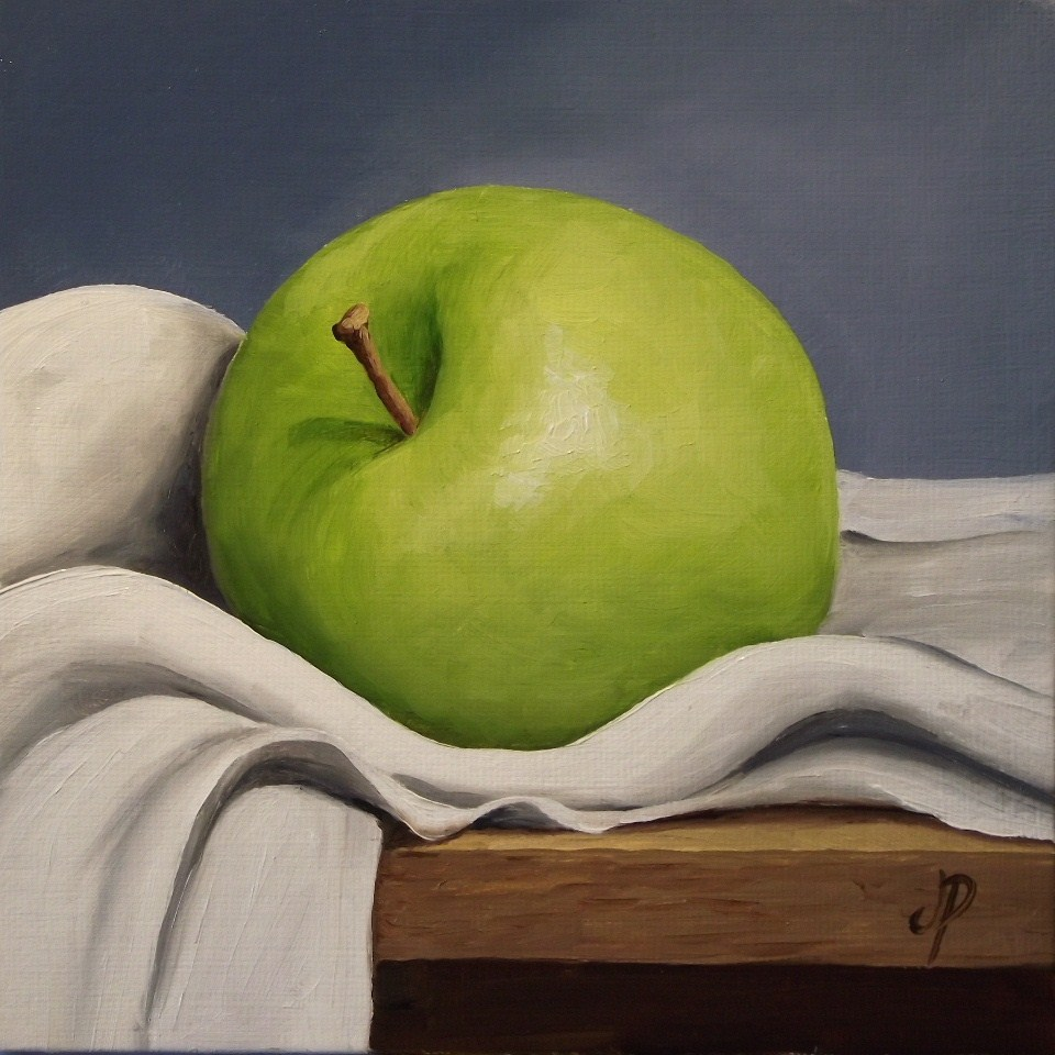 """Apple on cloth"" original fine art by Jane Palmer"
