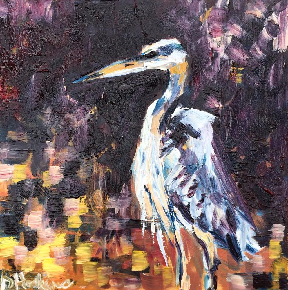 """Blue Heron"" original fine art by Denise Hopkins"