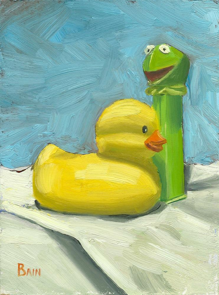 """Ducky & Kermit"" original fine art by Peter Bain"