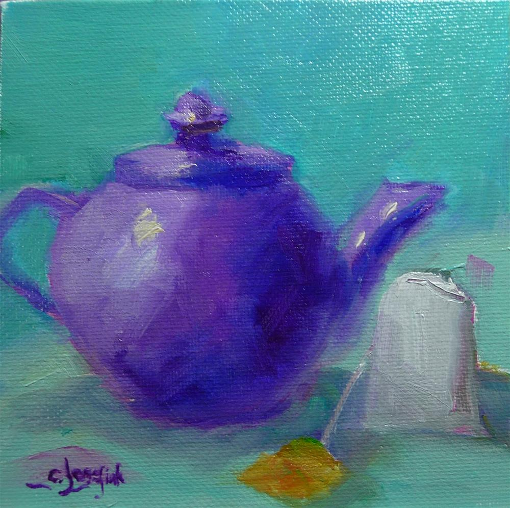 """Purple Teapot"" original fine art by Carol Josefiak"