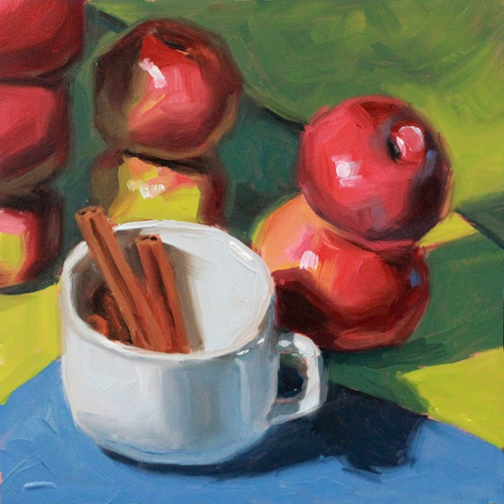 """Apple Stacks and Cinnamon Sticks"" original fine art by Nealy May Riley"
