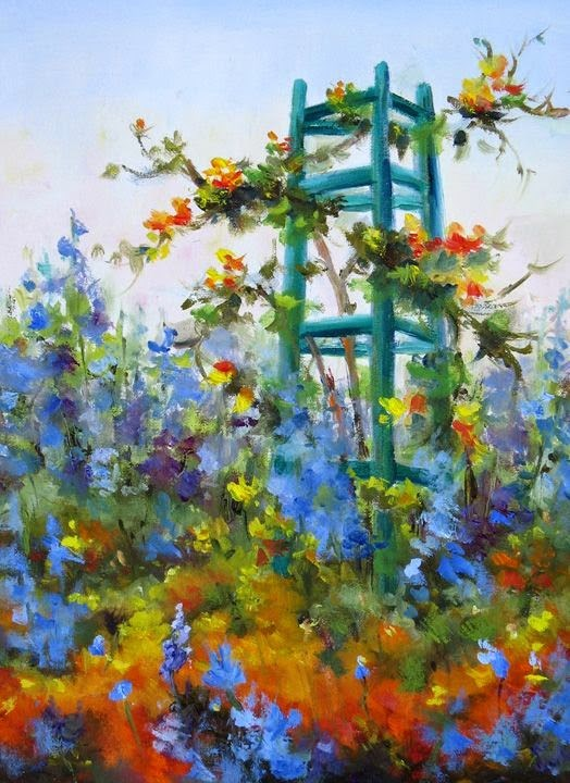 """Come paint in Monet's Garden June 4-11- 2 spaces just opened up!"" original fine art by Pat Fiorello"