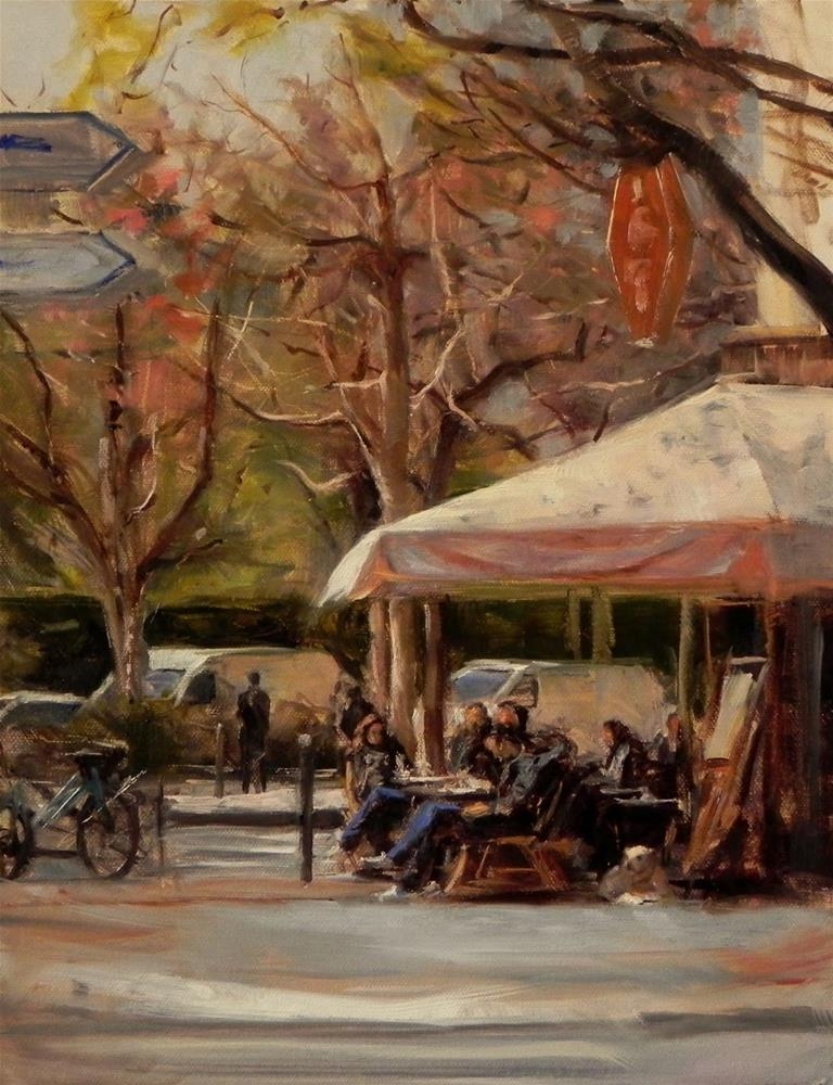 """Sidewalk Cafe in Paris II"" original fine art by Jonelle Summerfield"