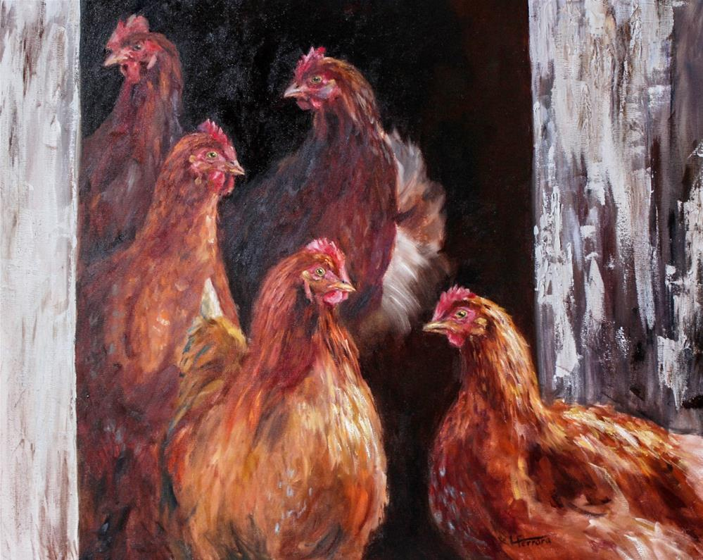 """Nobody Here But Us Chickens"" original fine art by Lina Ferrara"