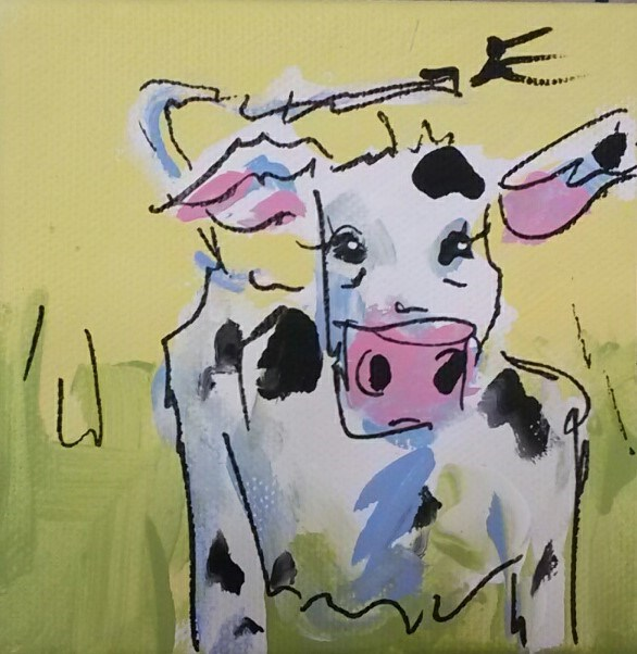 """Chunky Cow"" original fine art by Terri Einer"