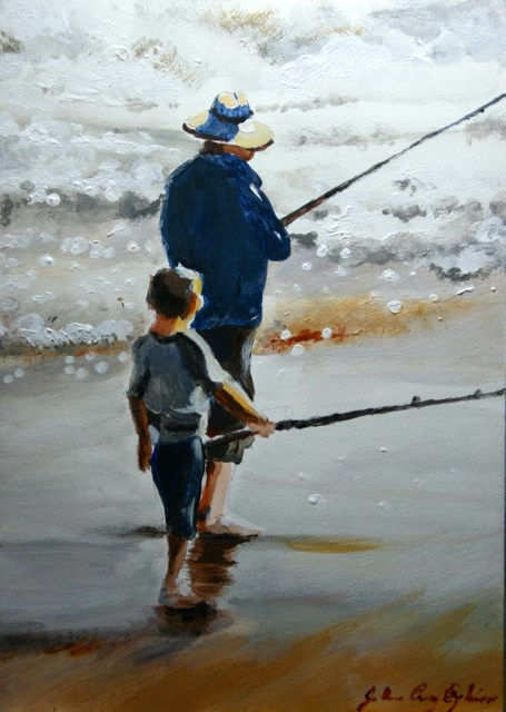 """Teach a Man to Fish"" original fine art by JoAnne Perez Robinson"