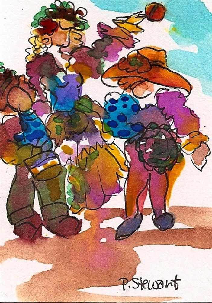 """ACEO Mardi Gras 3 Musicians"" original fine art by Penny Lee StewArt"