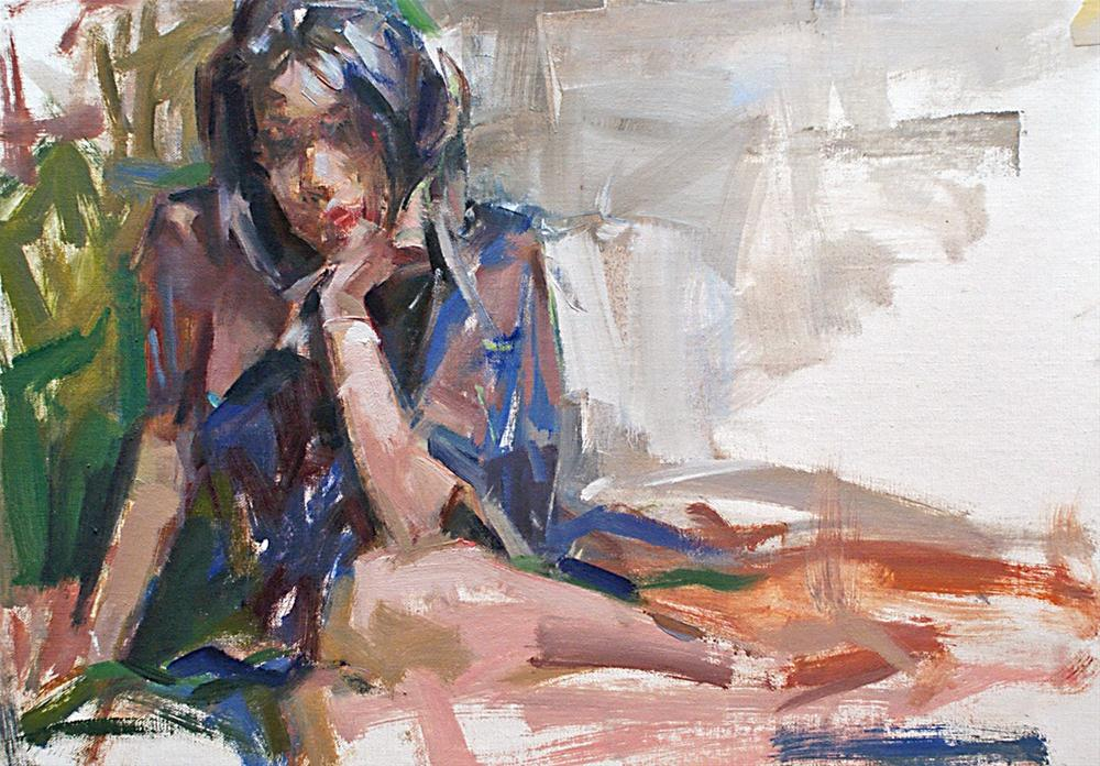 """Lara with Blue Robe"" original fine art by Mike Peterson"