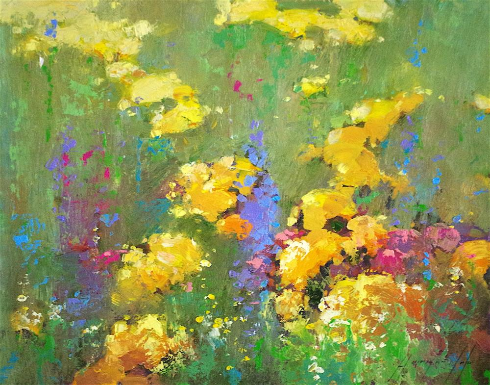 """Flowers Garden, Original oil Painting, Signed with Certificate of Authenticity "" original fine art by V Yeremyan"