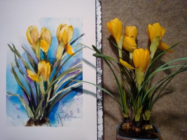 """Just Yellows"" original fine art by Kathy Los-Rathburn"