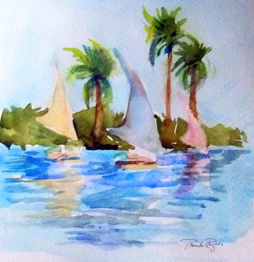 """Falukkas on the Nile"" original fine art by Pamela Jane Rogers"