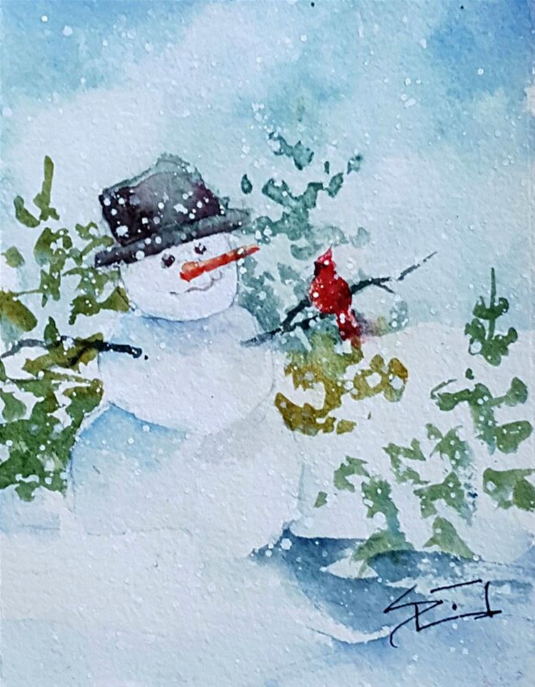 """Snowman and Co."" original fine art by Sue Dion"