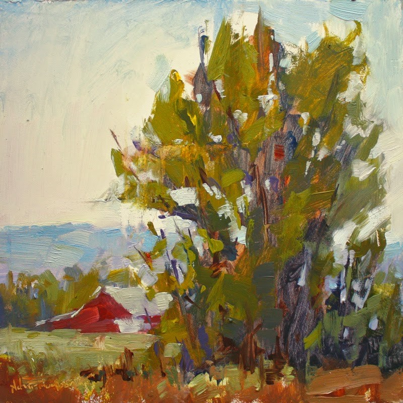 """Barn on the Mission - Plein air painting"" original fine art by Melanie Thompson"