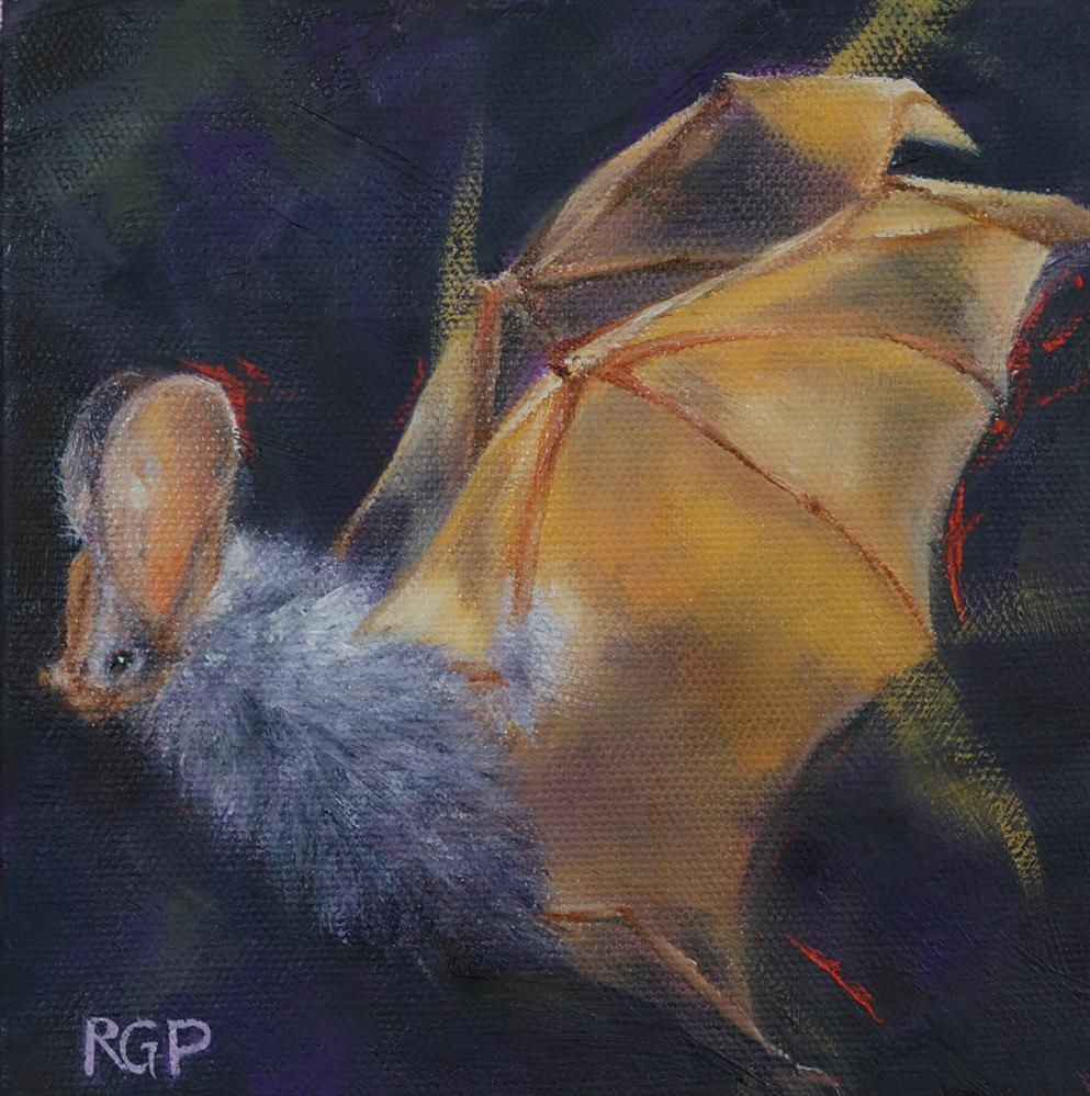"""Gold and Purple Bat"" original fine art by Rhea  Groepper Pettit"