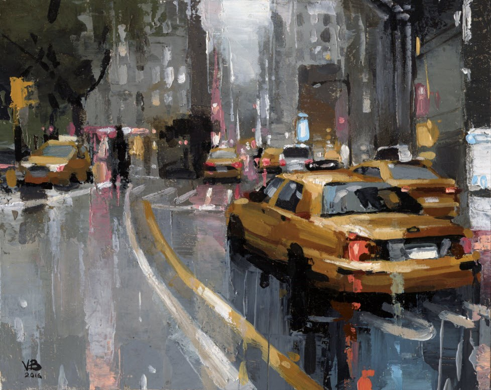"""NYC Taxi-III"" original fine art by Victor Bauer"