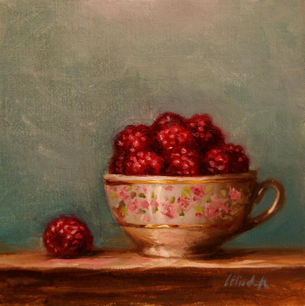 """Raspberries in a Teacup, 6x6 Oil on linen Panel"" original fine art by Carolina Elizabeth"