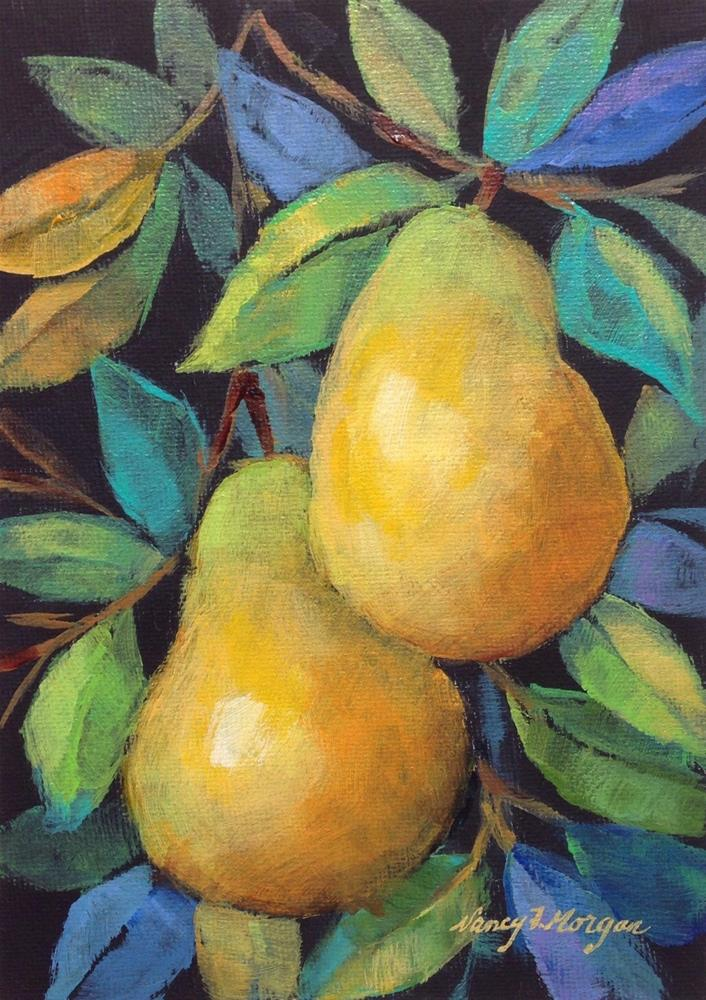 """Two Pears"" original fine art by Nancy F. Morgan"
