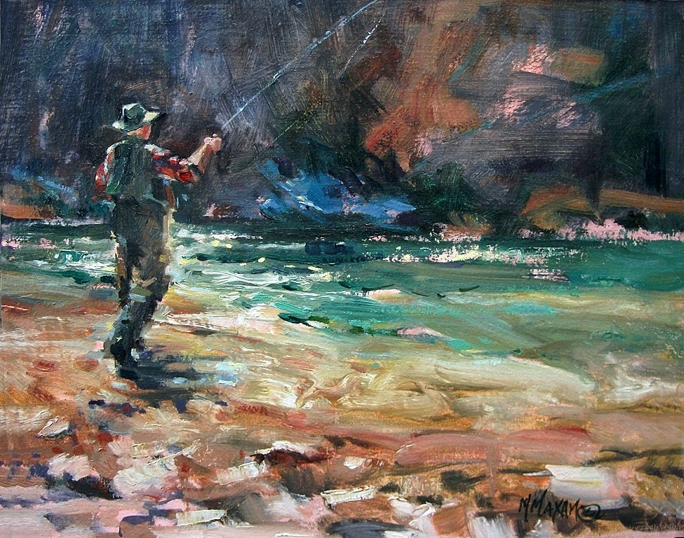 """Fishing The Shadows II"" original fine art by Mary Maxam"