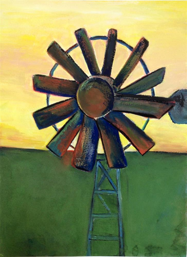 """9x12 Windmill Sunset Gouache Landscape 300 lb paper Expressionistic by Penny StewArt"" original fine art by Penny Lee StewArt"