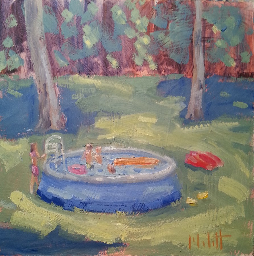 """Kiddie Pool Summer Days Plein Air Painting"" original fine art by Heidi Malott"